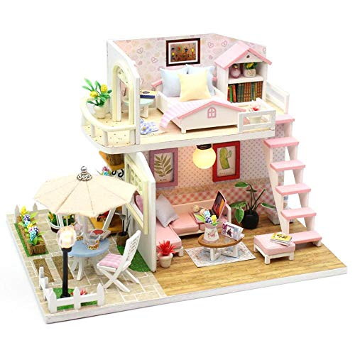 Opfury DIY Puppenhaus Miniatur, 3D Holz Puppenhaus Miniatur mit Möbel und LED Licht, DIY Villa Haus Puppenhaus Kit, für Kinder Geburtstag Weihnachts Geschenk