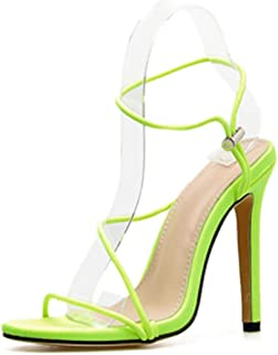 High Heeled Sandals for Women Summer Ankle Strap Stiletto Slingback Sandals Fluorescent Color Sexy Club Party Pumps