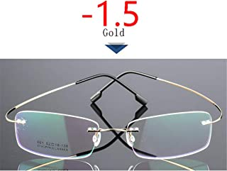 LNNSCE -1.0-1.5 to -4.0 Ultralight Coating Frameless Finished Myopia Glasses Men Women Rimless Stainless Steel Leg Nearsight Glasses