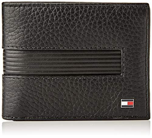 Tommy Hilfiger Downtown Mini CC Wallet & KEYFOB, Productos de cuero pequeños para Hombre, Negro, One Size