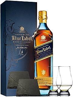 Johnnie Walker Blue Label Blended Scotch Whisky 0,7 Liter  2 Glencairn Gläser und 2 Schiefer Glasuntersetzer ca. 9,5 cm