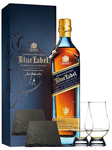 Johnnie Walker Blue Label Blended Scotch Whisky 0,7 Liter + 2 Glencairn Gläser und 2 Schiefer Glasuntersetzer ca. 9,5 cm