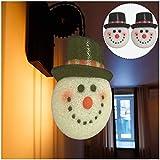cookin 2 cubiertas de pantalla de Navidad para colgar en la puerta, muñeco de nieve, lámpara colgante de calle, para decoración personalizada de habitación de jardín familiar, interior y exterior