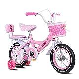 MYERZI Absorción de Impacto Bicicletas for niños Bicicletas de chicas de 16 pulgadas de acero 4-7 Bicicletas bebé de los años los carros de alto carbono, Rosa / / azul bicicleta infantil púrpura (Colo