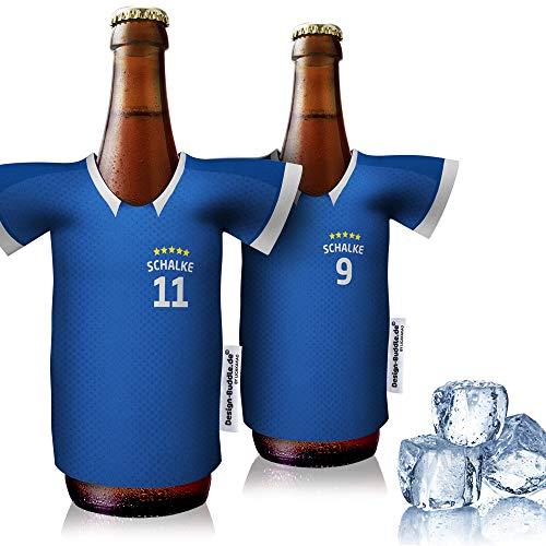 vereins-Trikot-kühler Home für Schalke 04 Fans   2er Fan-Edition  2X Trikots   Fußball Fanartikel Jersey Bierkühler by Ligakakao