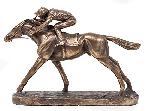Galloping Racehorse & Jockey Sculpture - Cold Cast Bronze Horse Racing Figurine
