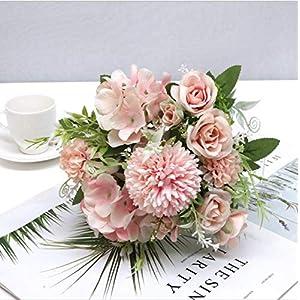 OOKi-2 Pcs Artificial Flowers, Fake Rose Silk Hydrangea Bouquet Decor Plastic Carnations Realistic Flower Arrangements Wedding Decoration Table Centerpieces (Pink)