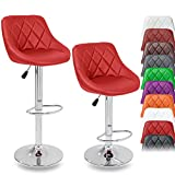 TRESKO 2er Set Barhocker Barstuhl 10 Farben wählbar, 360° frei drehbar, Sitzhöhenverstellung 60-80cm (rot)
