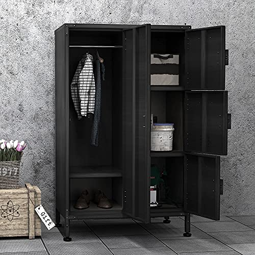 PIAOMTIEE 4 Door Metal Cabinet, Lockable Black Storage Cabinet Locker with Doors and Shelves for Home, Office, Dorm, Vented Freestanding Cabinet Industrial Style w/Adjustable Feet, 4 Locks