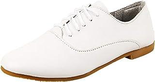 zpllsbratos Chaussure Plate Cuir Souple Femme Confort Derby Oxford Chaussure de Ville à Lacet Casual
