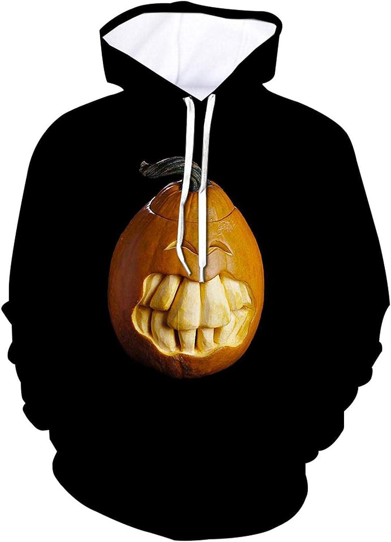 Men's Sweatshirts Halloween Long Sleeve Hooded Pullover 3D Printed Pumpkin Casual Ghoust Horror Outdoor Sports T Shirt