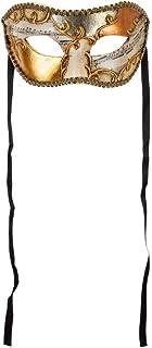 Maschera Veneziana Classica Di Colombina Da Uomo Decorata A Mano Bianca E Nera e Rifinita Con Foglia Argento Rame E Oro Ma...