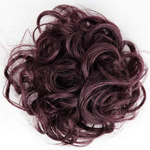 PRETTYSHOP Scrunchy Bun Up Do Hair piece Hair Ribbon Ponytail Extensions Wavy Messy burgundy red # 99jA G20A