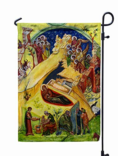Shorping Halloween Garden Flag, Thanksgiving Garden Flag 12X18Inch Birth God Watercolor The Wood am an Author for Holiday and Seasonal Double-Sided Printing Yards Flags,White Green