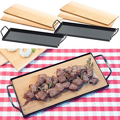 Rosenstein & Söhne Räucher Grill-Brett: 4 Zedernholz-Grillbretter für Holzkohle- & Gasgrills, mit Metallrahmen (Grillbretter Zeder)