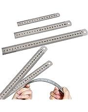 Rvs Liniaal Set, DBAILY 6 stks Dubbele Side Precisie Metalen Liniaal Kit Rechte Rand Meten Tool voor Engineering Tekening Architectuur School Ontwerp Schilderen Kantoor