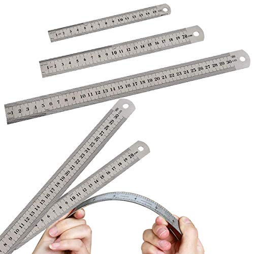 Regla de Acero Inoxidable, DBAILY 6pcs Regla de Borde Recto Métrica de Metal Regla de Medición a Escala de Doble Cara Para Escuelas Oficinas Edificios Dibujo Ingeniería Enseñanza Bricolaje