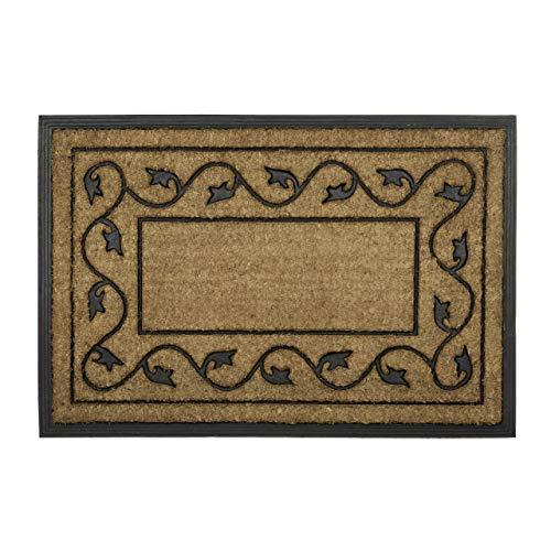 Relaxdays Paillasson fibres de coco rectangle 60 x 90 cm tapis de sol antidérapant caoutchouc intérieur extérieur motifs décoratifs