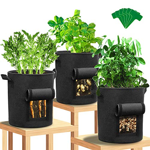 SYOSIN Pflanzen Tasche, Kartoffel Pflanzsack, Dauerhaft Atmungsaktiv Pflanzsack aus Vliesstoff, Gemüse Pflanztasche mit Fenster/Klettverschluss/Tragegriffen, für Kartoffeln Süßkartoffeln Erdnüsse