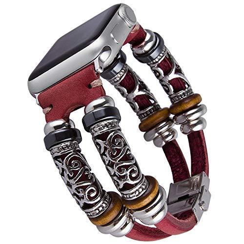 Vikoros Vintage Leather Cuff Bracelet Compatible with Apple Watch Series 5 44mm Serie 4/3/2/1 42mm iWatch Sport, Double Twist Dressy Boho Bracelets Jewelry Wristband Straps for Women Girls