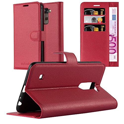 Cadorabo Hülle für LG Stylus 2 - Hülle in Karmin ROT – Handyhülle mit Kartenfach & Standfunktion - Hülle Cover Schutzhülle Etui Tasche Book Klapp Style