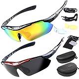 2key 偏光レンズ スポーツサングラス サングラス2本 ケース2個 フルセット専用交換レンズ5枚 ユニセックス 6カラー (ブラック黒&レッド赤)