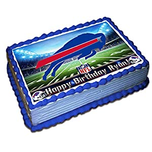 Buffalo Bills NFL Personalized Cake Topper Icing Sugar Paper 1/4 8.5 x 11.5 Inches Sheet Edible Frosting Photo Birthday Cake Topper (Best Quality Printing)
