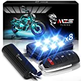MZS Motorcycle LED Light Kit Multi-Color Neon RGB Strips Wireless Remote Controller Compatible with ATV UTV Cruiser Harley Davidson Ducati Suzuki Honda Triumph BMW Kawasaki Yamaha (Pack of 8)