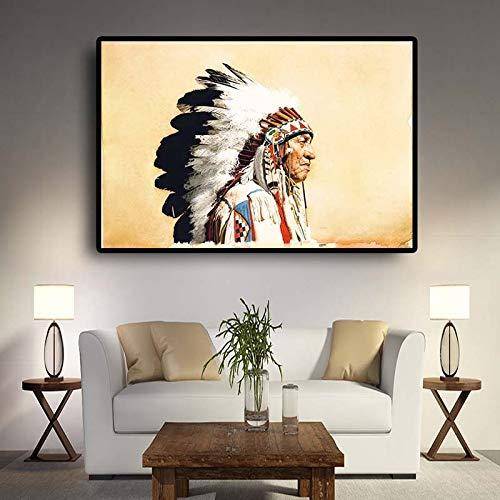 tzxdbh Indianen, jurk met veren, schilderijen van posters en wanden, gedrukt in Scandinavische woonkamer, 28 x 46 cm