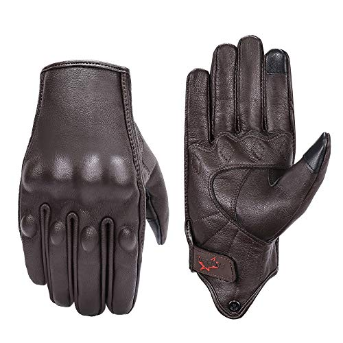 Brown Leather Motorcycle Gloves Hard Knuckle Armored Touchscreen Motorcycle Riding Gloves (M, Brown,Non-Perforated)