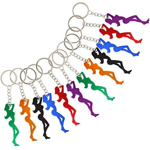 COM-FOUR® 12x flesopener in het ontwerp van een vrouw als sleutelhanger in verschillende kleuren [kleur varieert] - weggeeffeest voor een feestje (12 stuks - flesopener vrouw)