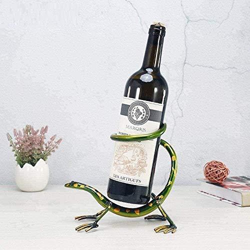 ZHIFENGLIU Desktop-Skulptur Lustige Gecko Weinregal Flaschenhalter Eisen Skulptur Bar Rotweinhalter Metallregal Home Decoration Crafts
