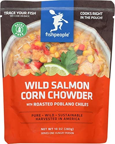 Fishpeople Wild Salmon Corn Chowder with Roasted Poblano Chiles 10 ounce Microwaveable Gluten product image