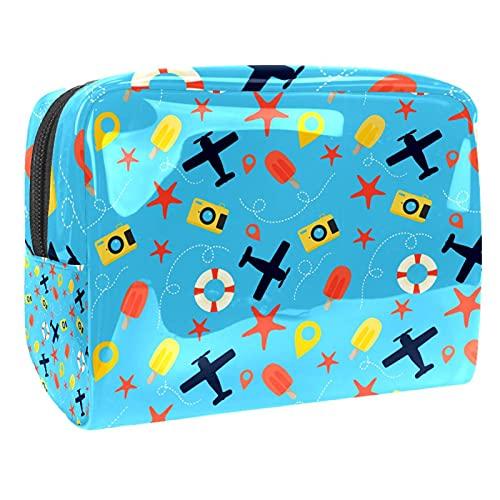 Bolsa de maquillaje azul con cámara de estrella de mar de avión de viaje, organizador de cosméticos, multifunción, bolsa de aseo impermeable con cremallera para mujer