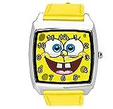 taport Esponja Bob Cuadrado Pantalones cuarzo squarewatch amarillo piel banda + libre batería de repuesto + libre bolsa de regalo