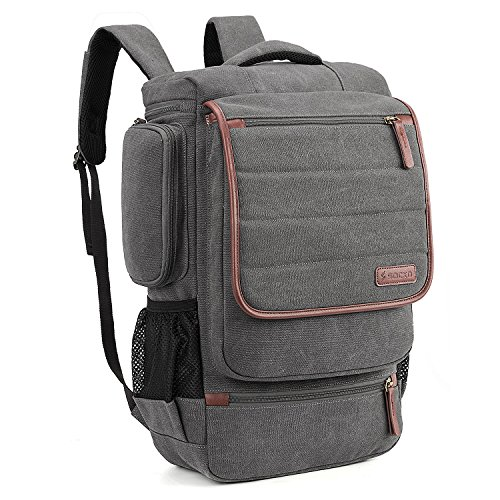 SOCKO Canvas Laptop Backpack Travel Luggage Bag College Backpack Casual Daypack Business Computer Rucksack Fit 17-17.3 Inch Laptop/Notebook for Men Women,Canvas Dark Grey