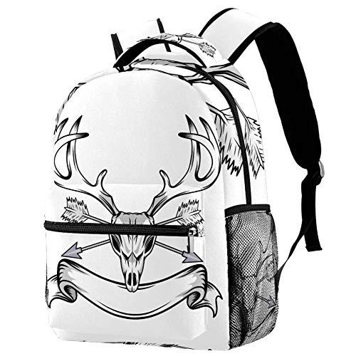 Cráneo de Alce en Blanco Mochila para la Escuela Primaria Mochila Escolar para Niños y Niñas Mochila para Niños Bolsa de Viaje para Computadora Portátil 29.4x20x40cm