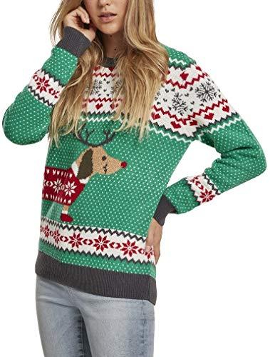Urban Classics Damen Ugly Sweater Ladies Sausage Dog Weihnachts-Pullover Sweatshirt, Green (Teagreen/White/Red/Dark-Green 02366), L