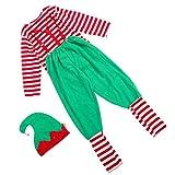 KESYOO Disfraz de Payaso de Navidad Disfraz de Elfo Cosplay Ropa Sombrero Sombrero de Elfo Fiesta de Navidad Disfrazarse para Navidad Mascarada Carnaval Actuación en El Escenario (Verde)