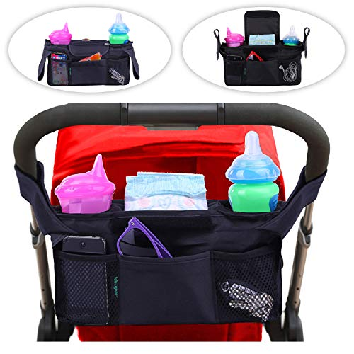 Lebogner Stroller Organizer, Insulated Deep Pocket Stroller Cup Holder To Keep Warm Or Cold Bottles, Extra Stroller Storage Space Accessories Pouch, Secured Universal Fit Black Baby Diaper Hanging Bag