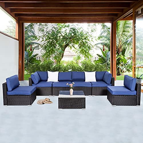 Kinbor Patio Couch, Wicker Outdoor Patio Furniture, 7 Piece Outdoor Sofa Set for Porch Garden Poolside, Dark Blue
