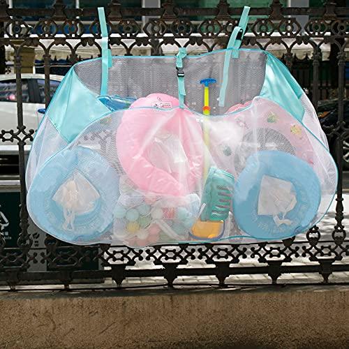 Bolsa de almacenamiento de piscinas de gran capacidad, organizador de malla colgante de trabajo pesado, bolsa de malla plegable con cordón y ganchos para el juguete de verano, fútbol, baloncesto