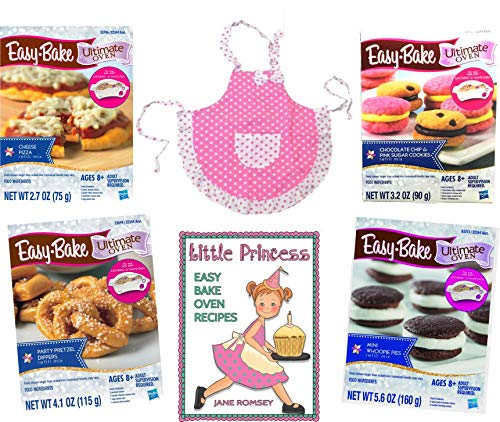Easy Bake Ultimate Oven Refills- Pizza, Pretzels, Cookies, Whoopie pies / Pink Kid-Sized Apron / The Easy Bake Oven Recipes Book with 64 Recipes (6 Items) The Little Girl Baker Giftset