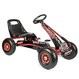 Bopster- Coche De Pedales Go-Kart con Ruedas Hinchables 5-8 años- Rojo/Negro