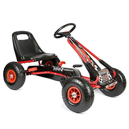 Bopster - Go-Kart mit Pedalen und aufblasbaren Reifen Go-Kart-Fahren Kinder Jungen Outdoor Rot Schwarz