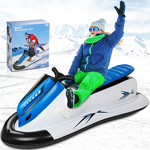 Inflatable Snowmobile Snow Sled, Kids and Adults Heavy-Duty Giant Snow Tube for Sledding with Reinforced Handles Snow Rider Winter Toys Ideal for Birthday,Thanksgiving,Christmas Outdoor Activity