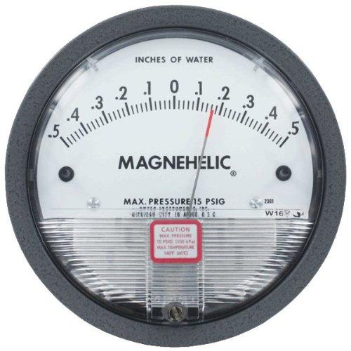 Dwyer Magnehelic Differential Pressure Gage, 2304, Zero Center Range: 2-0-2' w.c.