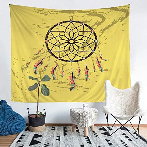 Tapiz bohemio con diseño de atrapasueños para colgar en la pared para niños y niñas, diseño de plumas indias, color amarillo, para dormitorio, sala de estar, tamaño mediano de 137 x 132 cm