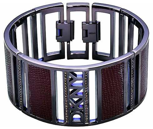 DKNY Damen-Armreif Metalllegierung Zirkonia Rundschliff rot 11 cm - NJ121404017.5