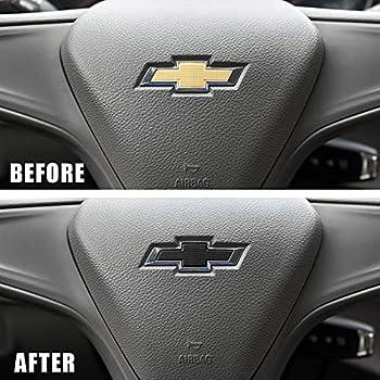 Happyworker Black Steering Wheel Bowtie Emblem Compatible with Chevy Equinox Malibu Cruze Volt Blazer Silverado Suburban Tahoe Bolt Trax Spark Sonic Impala